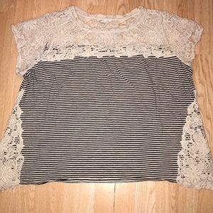 Adiva 3x Lace/Striped Top